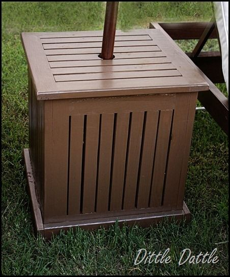 Patio Umbrella Stand Table: Pottery-Barn-Side-Table-and-Umbrella-Stand