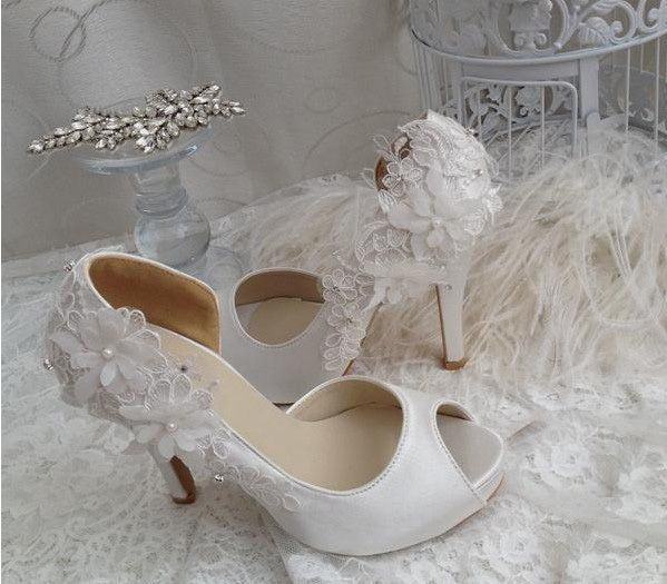Wedding Gift Wedding Dress Shoes Bridal Shoes Bridesmaid Shoes High Heel Peep Toe Party Banquet Shoes Off White Color Size 34-40 $54.00