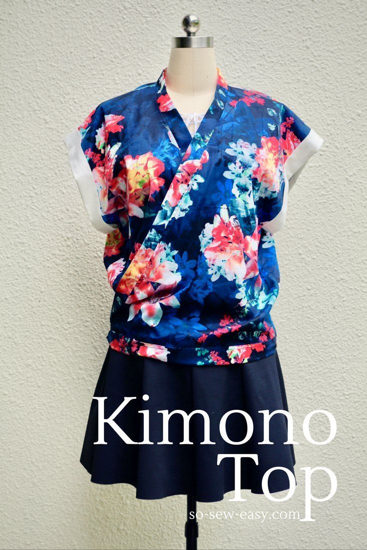 Kimono top, 3 look in one pattern, free and easy under 2 hours project.