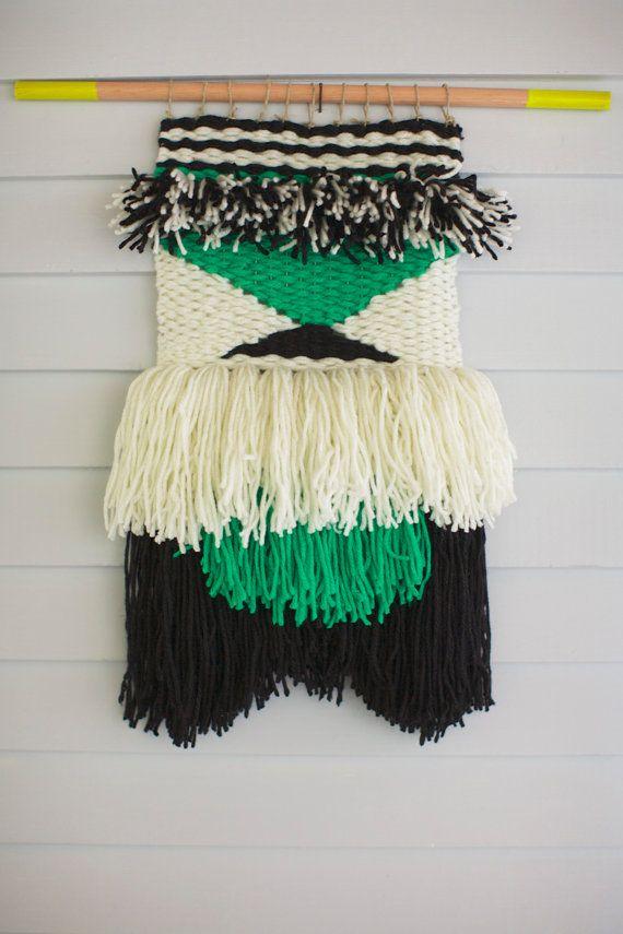 Hand Woven Boho Fiber Wall Hanging / Woven Tapestry / Textile / Black White…