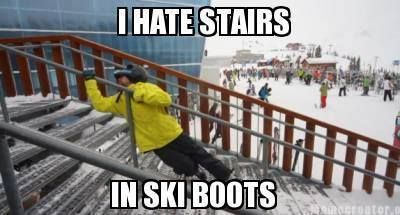 Hahaha! I have never skied before but I have tried stairs in roller skates and it is just as hard!