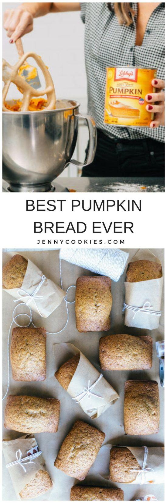 The BEST PUMPKIN BREAD EVER. | homemade pumpkin bread recipes | fall recipe ideas | pumpkin recipe ideas | ways to use pumpkin this fall | fall inspired recipes | how to make pumpkin bread | easy pumpkin bread recipes || JennyCookies.com #pumpkinbread
