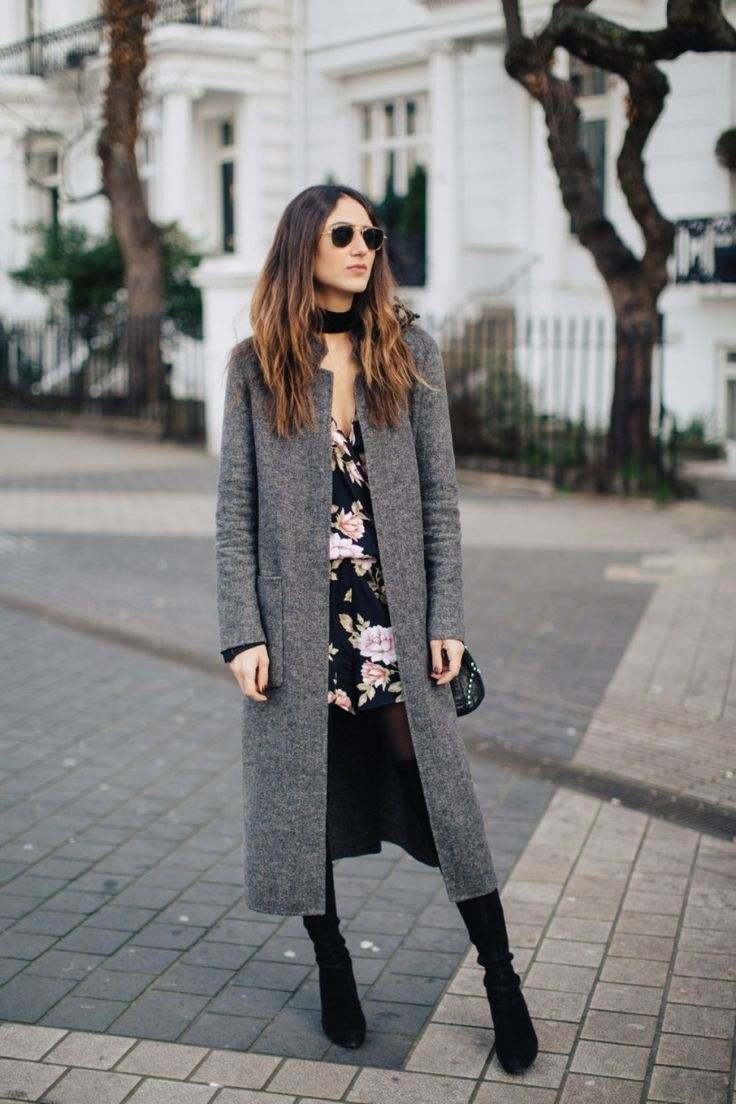 50 fall + winter 2016 outfit ideas to steal from street style stars | Fashion & style trends | longline gray coat, floral dress + over the knee boots
