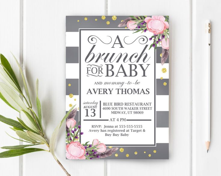 Brunch Baby Shower Invite, Boho Baby Shower Invitation, Bohemian Baby Shower, Girl Baby Shower, Boy Baby Shower, Item 246 by JessieKdesign on Etsy https://www.etsy.com/listing/271249866/brunch-baby-shower-invite-boho-baby