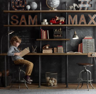 RH Baby & Child's Industrial Pipe Shelving:Sturdy steel pipes and matching cast fittings serve as the structure for our hardworking pieces, while warm wood planks provide support for books and a workspace for the industrious.