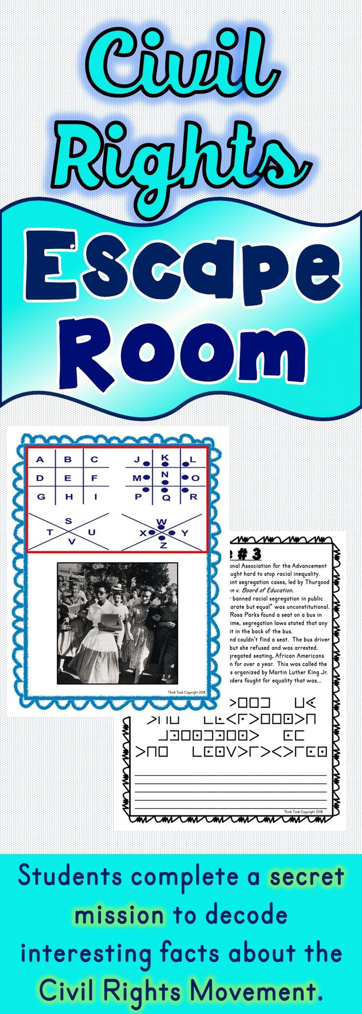 The Civil Rights Movement Escape Room will take students on a secret mission around the classroom! This escape room has students decode interesting facts about the Civil Rights Movement. This is the perfect resource to introduce the Civil Rights Movement, the Montgomery Bus Boycott, Rosa Parks, Martin Luther King Jr., Little Rock Nine or Black History Month. #blackhistory #blackhistorymonth #escape