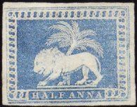 Rare Indian Stamps -1853 ½ anna, Lion and Palm Tree essay, die ll, colour trial in blue.
