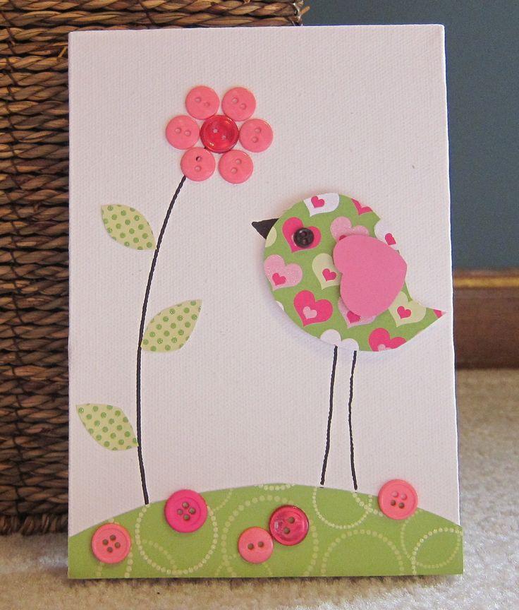 Children's Room Canvas Art, Nursery decor, 5 x 7, bird , flower, cute as a button, pink and lime green. $16.00, via Etsy.