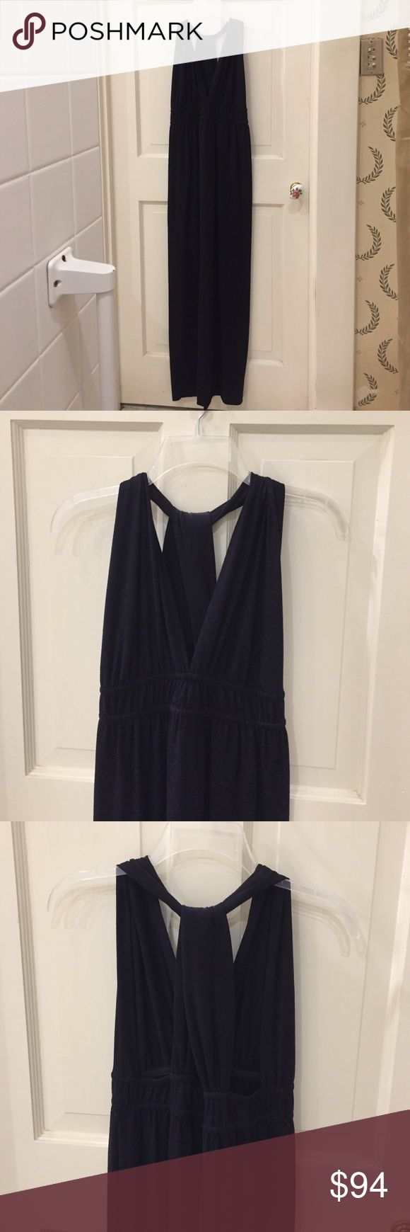 NWT Anthropologie Aquarius Long Navy Dress Beautiful long navy v-neck dress with silky navy and red reversible sash and crossover open back. 60% polyester, 33% rayonne, 7% spandex. Anthropologie Dresses