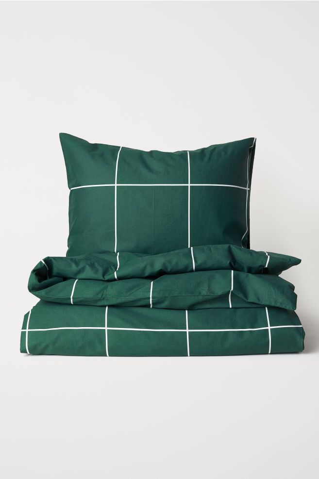 Komplet Poscieli W Krate Ciemnozielony Krata Home H M Pl Bed Linens Luxury Green Duvet Covers Green Bedding