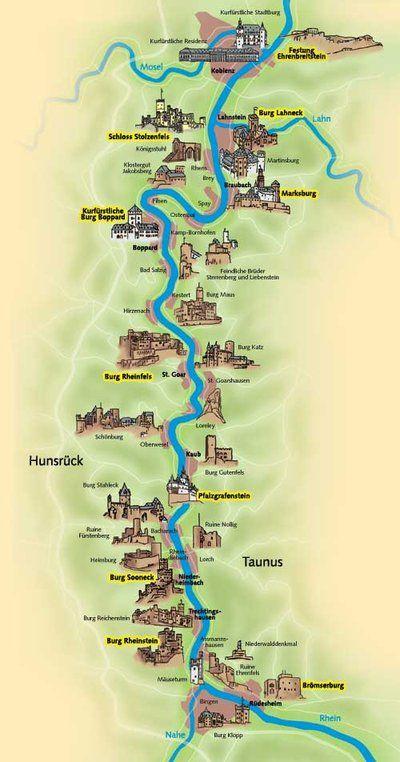 Kaart van de mooiste kastelen langs de rivier de Rijn in Duitsland.