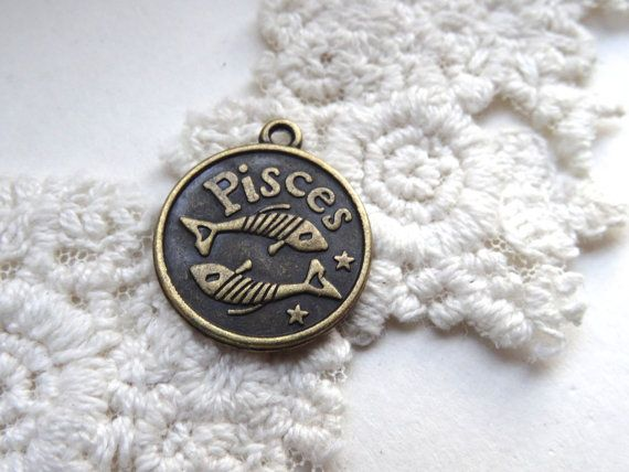 Pisces Star Sign Charm Horoscope Jewelry Round Bronze by BuyDiy