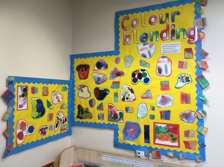 Colour blending display! The children used chalk pastels and 2Paint to blend colours