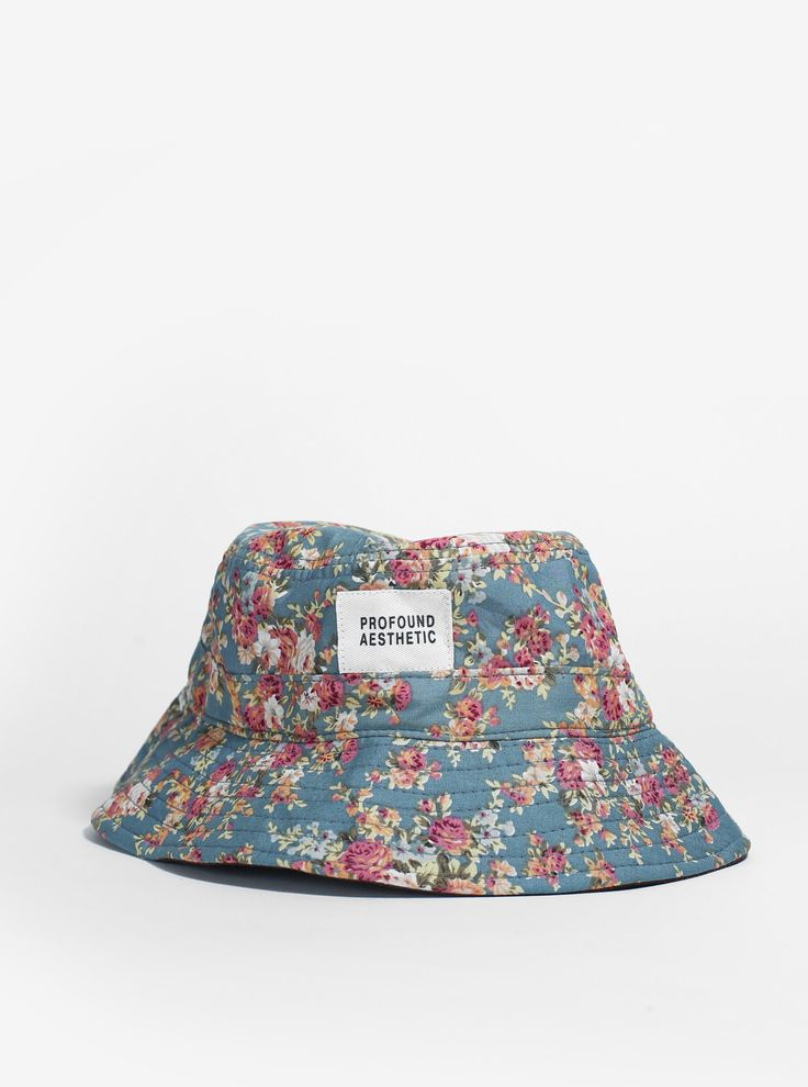 Portland Rose II Floral Bucket Hat in Teal - Profound Aesthetic - 1