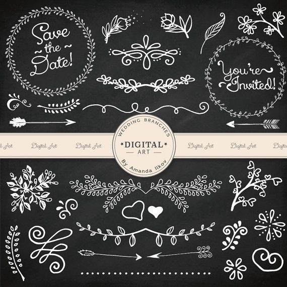 This is a set of 62 professionally made, high quality, hand drawn digital wedding flourishes, dividers, branches, digital frames, wreaths, arrows and