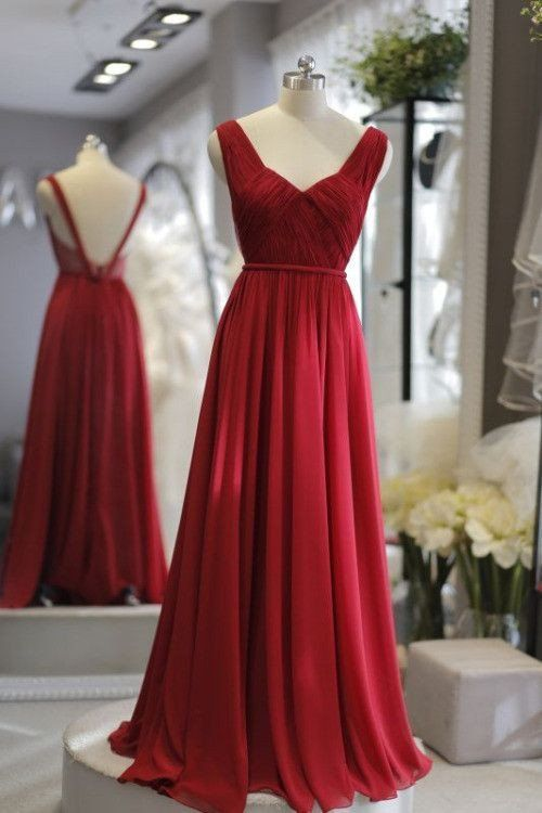 Winered chiffon open back simple long dresses,bridesmaid dress