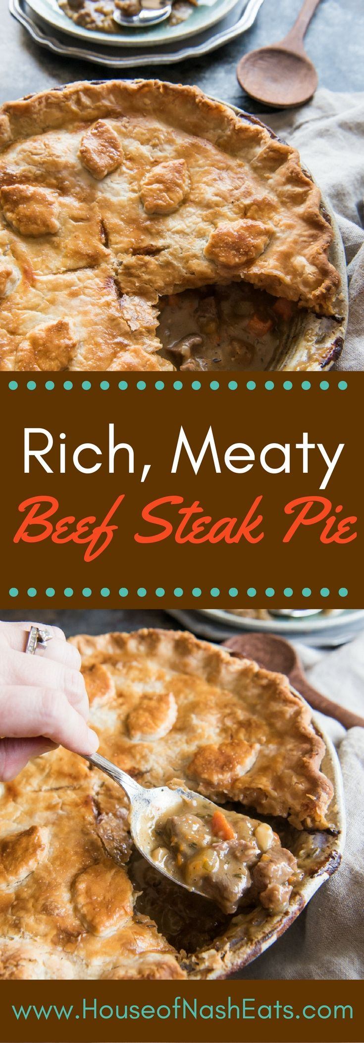Beef Steak Pie is an old recipe for a rich, meaty steak and mushroom pie recipe that gives a taste of history and is super comforting for cold weather days!