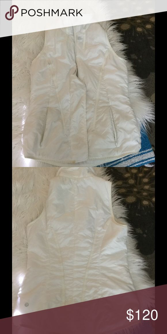 White lululemon vest White lululemon vest with removable hood. Not pictured but I will attach it and send with purchase. Size 6 ... No trades lululemon athletica Jackets & Coats Vests
