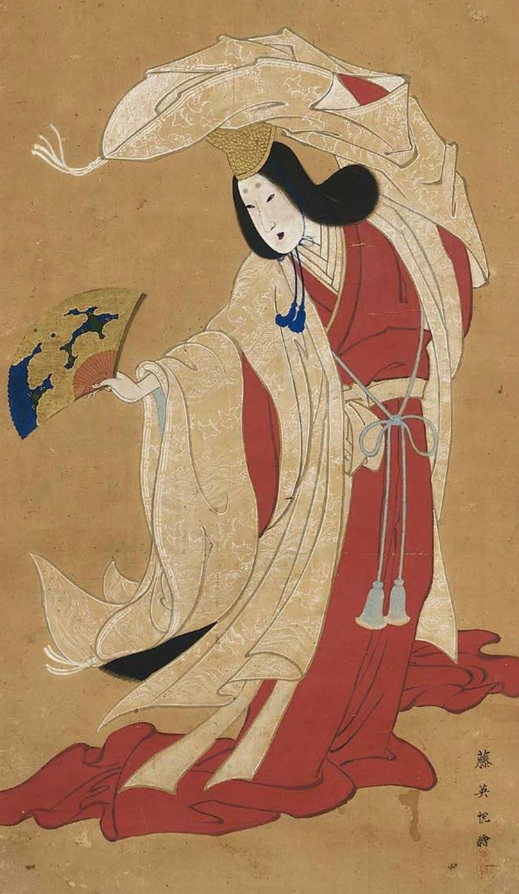 Color in japanese art - Main Detail Of A Hanging Scroll Ink And Color On Silk First Half Century Japan By Artist Eietsu