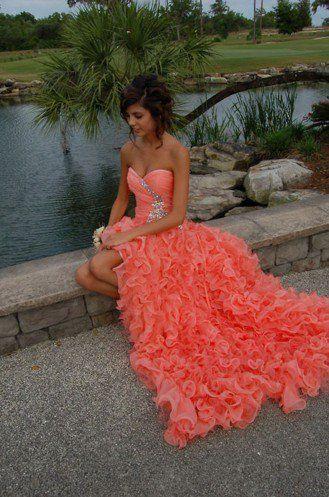 Orange Ball Gown Sweetheart High-low Asymmetrical Prom Dress  1 ONE FAVORITE