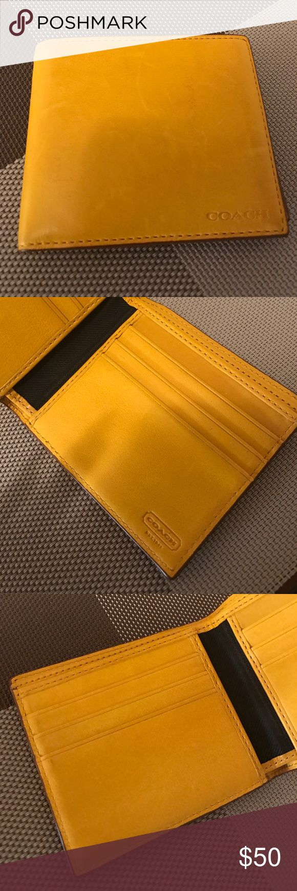 "Men'n Coach Wallet Yellow (Flax) sports calf leather, 100% Coach Authentic Men's wallet.  Wallet has 4 Card Slots & slip in slot on each side.Full Length Double Billfold. Coach name imprinted on inside of wallet. Approx Measurements: 4.25"" (L) x 3.75"". Excellent quality and condition. Coach Bags Wallets"