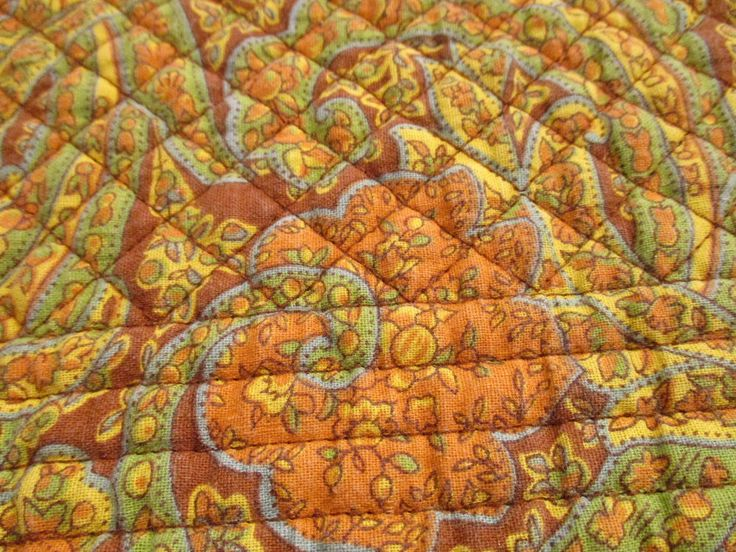 Laura Ashley Yellow Orange Blue Brown Placemats Quilted Set of 4 Paisley #LauraAshley