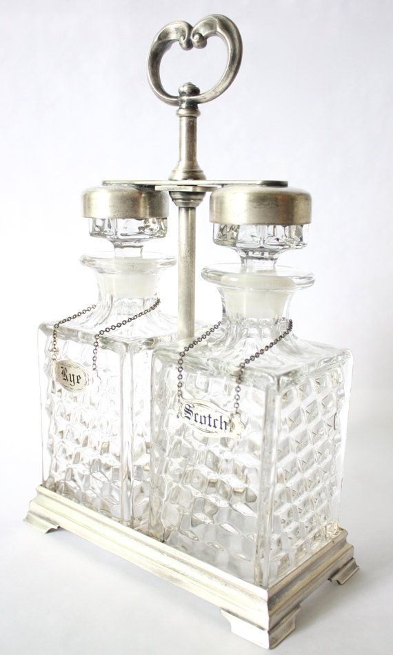 Very rare! Amazing gift for a man! 1930s Fostoria Scotch and Rye Crystal Decanter Set by KillAnHour, $450.00