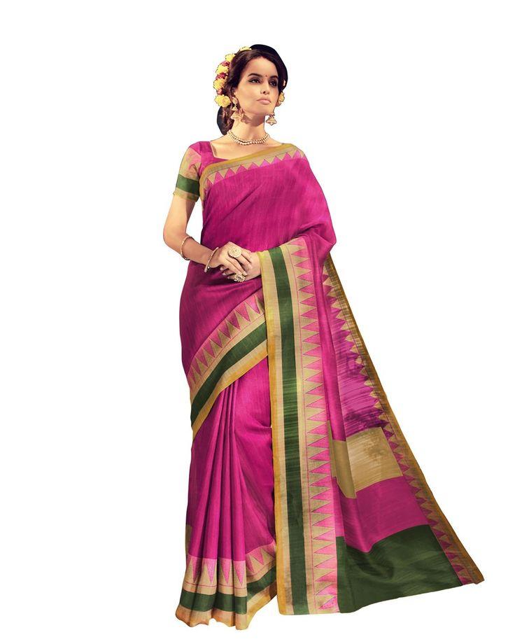 buy saree online Pink Colour Bhagalpuri Printed Casual Wear Saree Buy Saree online - Buy Sarees online