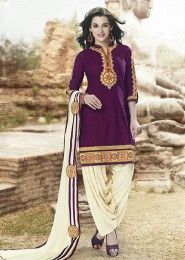 Casual Wear  Cotton Violet Embroidered Work Patiala Suit