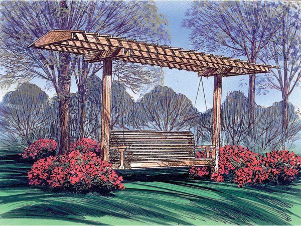 "GARDEN SWING AND CANOPY PLAN;  Canopy size - 12'-0"" x 5'-0"" x 7'-6"" high  Bench size - 6' long  Attractive design features a sun screen canopy  Perfect for enjoying the outdoors in style.  Complete list of materials  Step-by-step instructions"