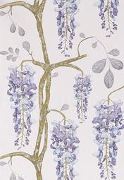 Wisteria is one of my favorite things.  This wall paper has a beautiful sad quality to it. Lilac Rose
