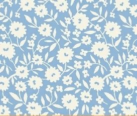 Storybook Vacation - White Floral on Blue