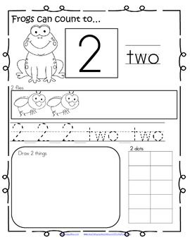 Frogs Can Count to 20! Number practice printables
