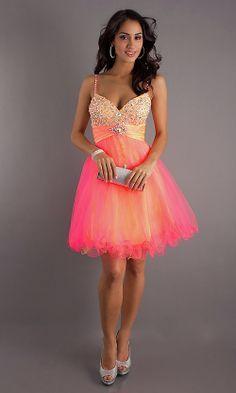 Yellow and Orange Short Prom Dresses