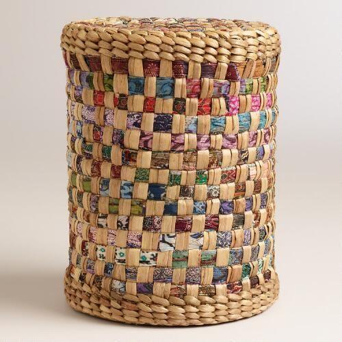 Hyacinth Stool with Batik | World Market