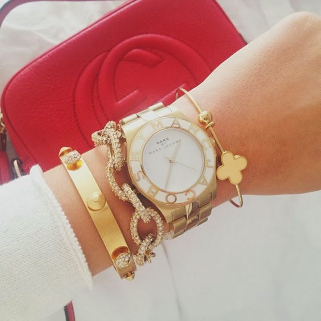 Gold arm candy - doesn't have to be this one, just love the gold look. Why I love the Kate Spade http://bijouxcreateurenligne.fr/product-category/bracelet-fantaisie/