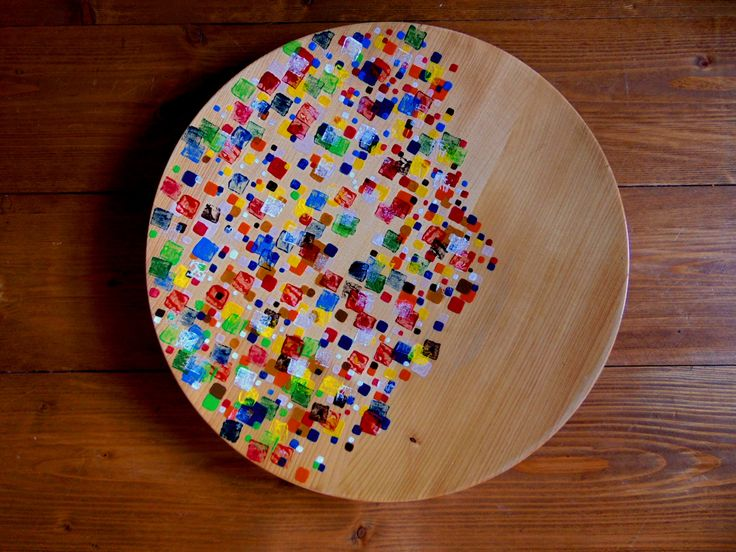 Wooden plate decorated by acrylic paint. Inspired by Minecraft game
