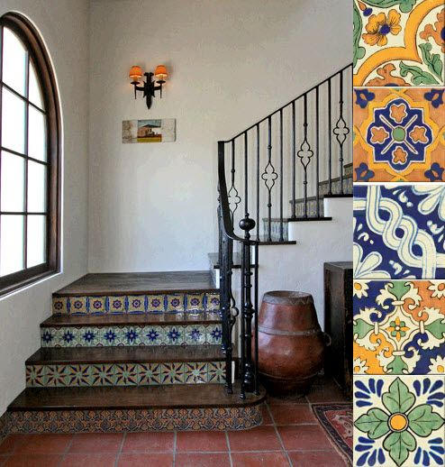 """I'd love to do Mexican tiles like these up our front steps - or on the concrete side walls of our front steps.  Worried it's too """"taste specific,"""" though."""