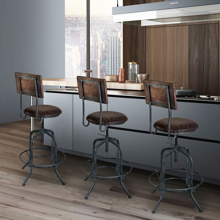 Armen Living Damian Industrial Grey Finish with Brown Fabric Seat Adjustable Bar Stool | Overstock.com Shopping - The Best Deals on Bar Stools