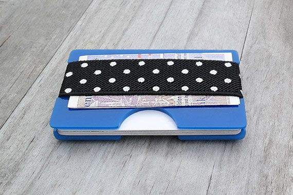 Polka Dot, Gift Idea, Minimalist Wallet, Mens Wallet, Acrylic Wallet, Blue Perspex, Business Card Holder, Modern Wallet, Money (00BD)