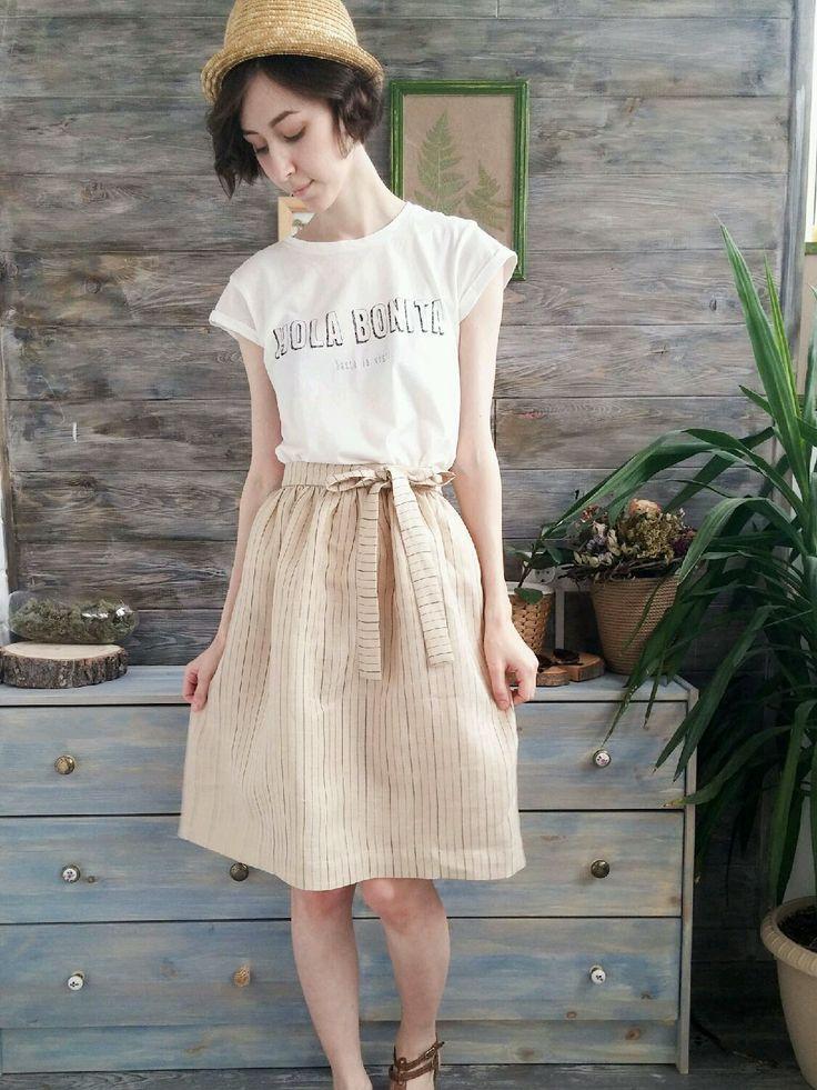 Купить Льняная бежевая юбка с поясом - льняная юбка, юбка из льна, бежевая летняя юбка