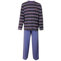 Heren pyjama met blauwe broek en rode, witte en blauwe strepen op een zwarte top