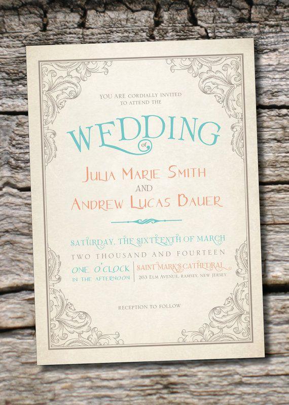ELEGANT SCROLL Vintage Rustic Wedding Invitation/Response Card - 100 Professionally Printed Invitations & Response Cards