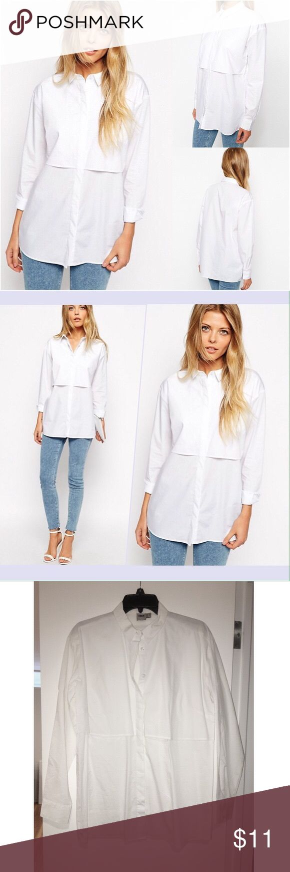 New ASOS Boyfriend White Shirt with Double Layer ASOS Boyfriend White Shirt with Double Layer. Size: US 6. Shirt by ASOS Collection. Basically new. Crisp woven fabric, Classic point collar, Double layered design, Button down front, Relaxed boyfriend fit , Machine wash, 100% Cotton . ASOS Tops Button Down Shirts
