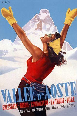 Vallee d'Aoste, Italy http://www.vintagevenus.com.au/products/vintage_poster_print-tv369