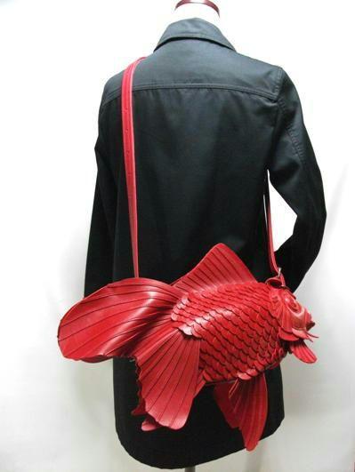 Leather goldfish bag by Atelier IWAKIRI, Japan