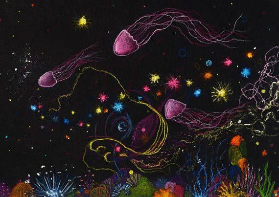 A4 Giclee Print: Deep Sea Jellyfish MelanieReevesArt