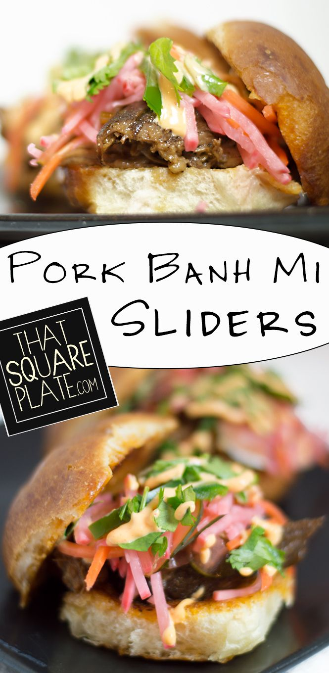 Vietnamese pork sliders topped with a pickled veggie mix, Sriracha mayonnaise, cilantro, and jalapenos. Small enough to handle, but you'll want to eat like 12.