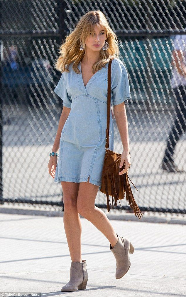 Denim diva: Hailey Baldwin looked gorgeous as she posed in a photoshoot in New York on Wednesday