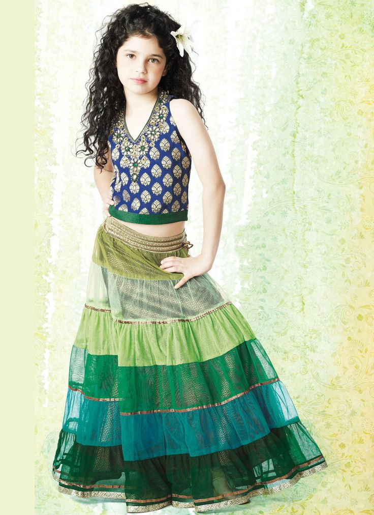 Stylish lehenga for your kids, made of georgette fabric.  Price :- INR 3800  Product Page :- http://www.unnatiexports.com/design/closeup/children-girl-a-7-b-27.html